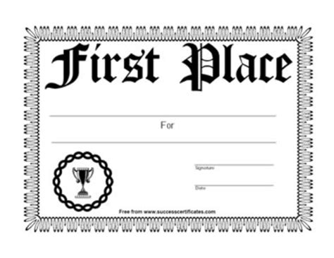 1st place certificate template free place achievement certificate place winner