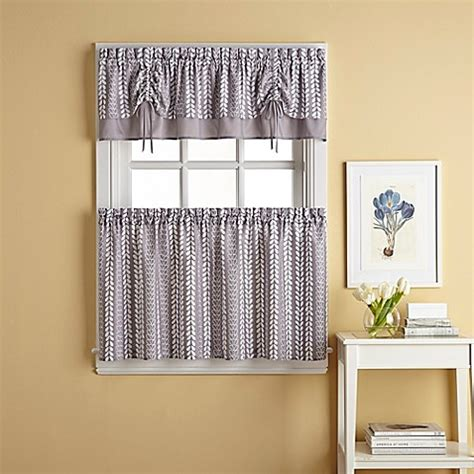 Gray Kitchen Curtains Bloom Window Curtain Tier Pair In Grey Bed Bath Beyond