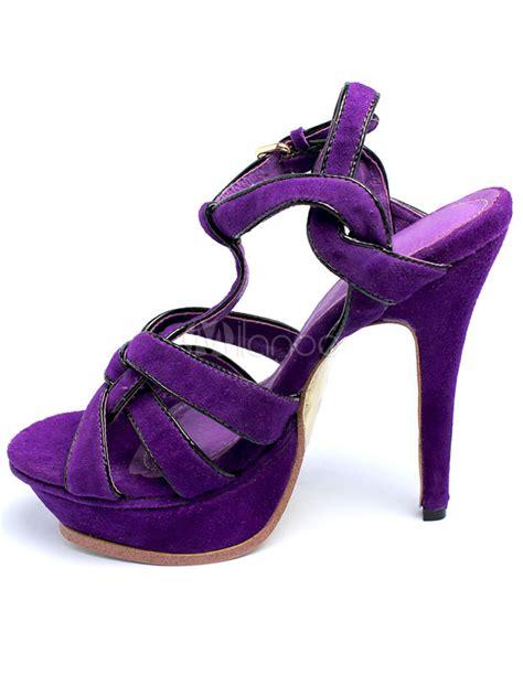 W Fashion Shoes 089 3 purple black 4 3 4 high heel 1 1 5 platform suede womens fashion sandals milanoo