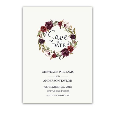 Save The Date by Save The Date Cards Wine Burgundy Floral Wreath
