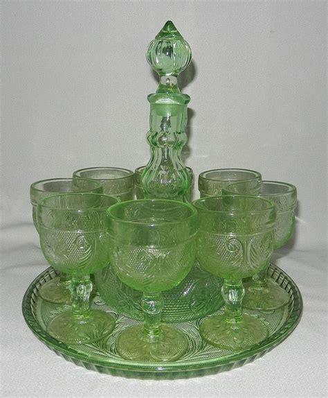 Sandwich Glass Ls by Vintage Tiara Indiana Sandwich Glass Chantilly Green