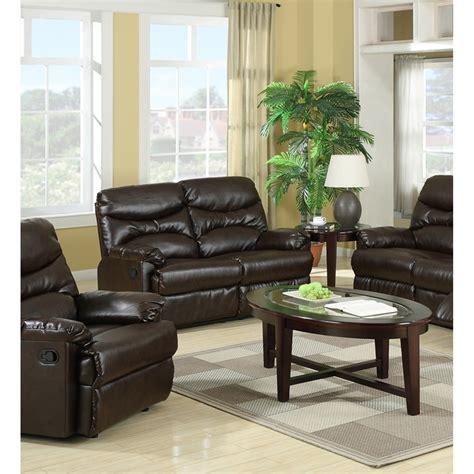 Brown Leather Recliner Sofa Set Geneva Brown Bonded Leather Recliner Sofa Set Dcg Stores