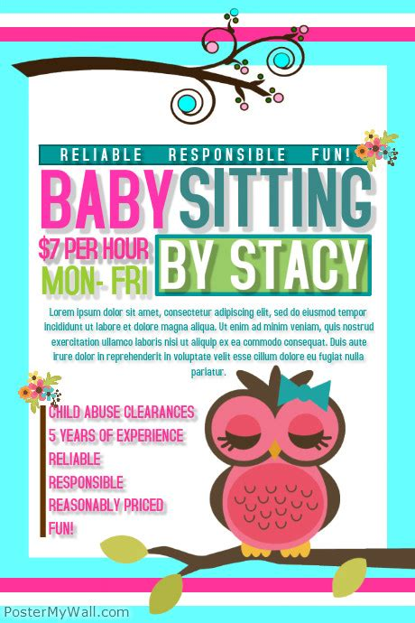Postermywall Babysitting Flyers Baby Sitting Flyer Template