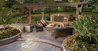 Backyard With Firepit by Patio Design Ideas Using Concrete Pavers For Big Backyard