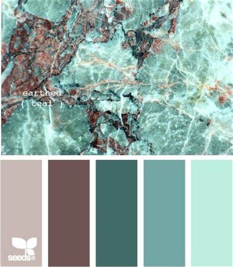 colour combo of teal shades and brown color schemes