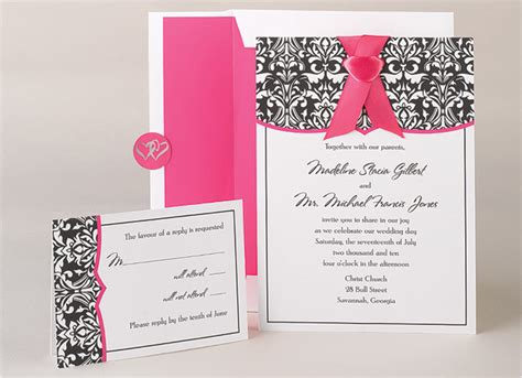 damask wedding invitation kits damask fuchsia wedding invitation kits invitations