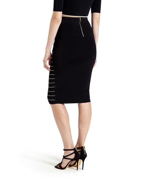 Skirt Black 1 ted baker shelpa stripe knitted midi skirt in black jet