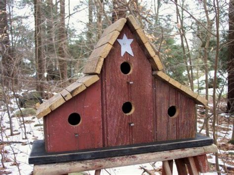 primitive barnwood birdhouse tobacco lath roof four hole