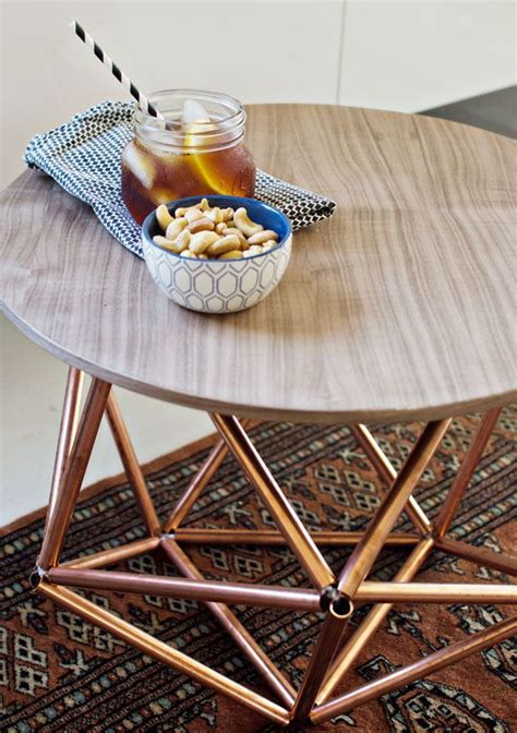 diy copper table legs diy side table with himmeli base from copper pipe copper home and home improvements