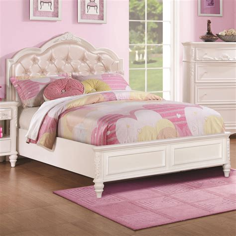 girls tufted headboard buy caroline full size bed w diamond tufted headboard by