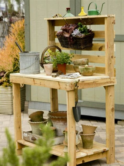 build a potting bench potting bench made with pallets diy pinterest