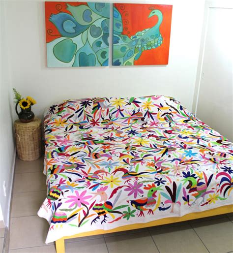 eclectic bedding king size birds multicolored otomi piece by casa otomi