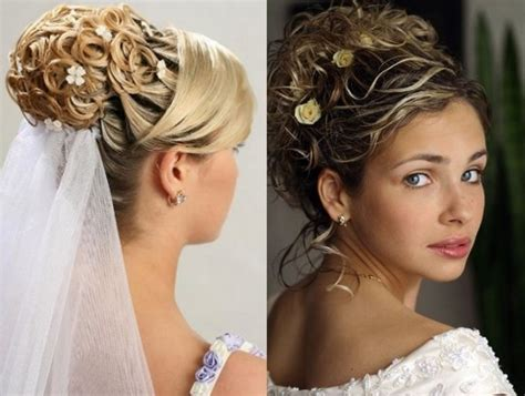 wedding hairstyles for long curly hair with veil stylish hairstyle with long and short hairs with veil for