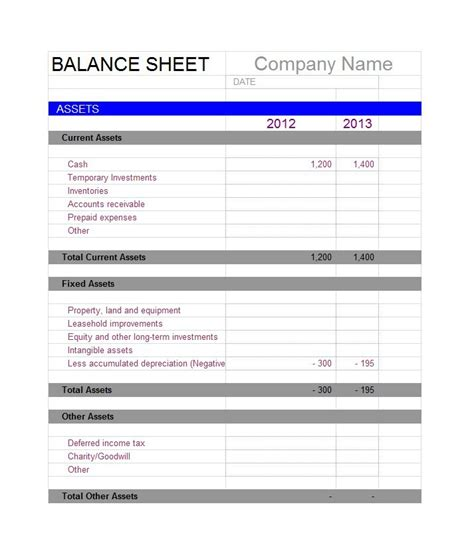free printable balance sheet template worksheet accounts assets