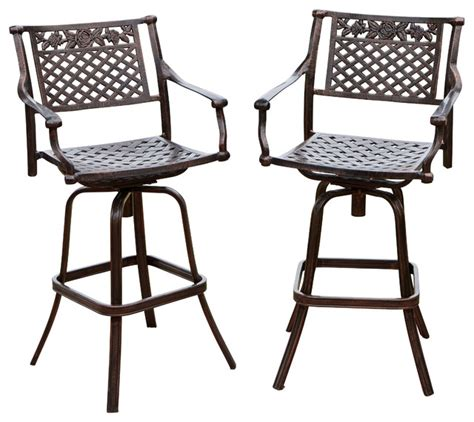 outdoor aluminum bar stools sierra outdoor cast aluminum swivel bar stools set of 2