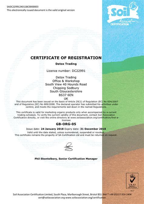 Detox Trading by Soil Association Certificate Detox Trading Organic