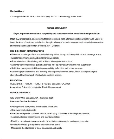 sle resume for flight attendant with no experience