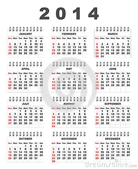 Calendario X Semanas 2014 Calend 225 2014 Fotografia De Stock Royalty Free Imagem