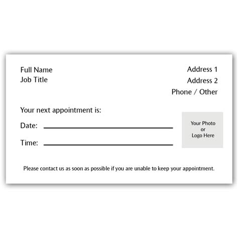 appointment card appointment card 2 iprint