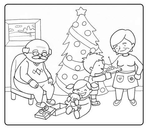 dibujos ni241os en navidad colorear abuelos abriendo los regalos de navidad con sus nietos