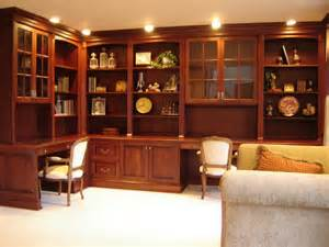 Display Cabinet Office Furniture Brown Stained Teak Wood Office Table Integrated With