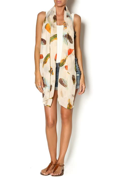 2 chic feather print scarf from missouri by the fashion