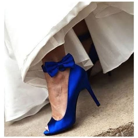 Satin Heels Wedding by Royal Blue Bridal Heels Peep Toe Ankle Bow Satin Pumps For