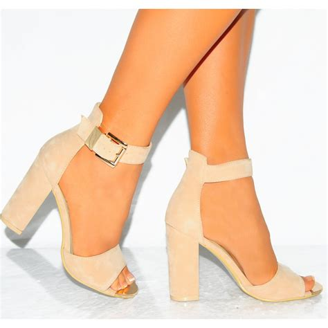 suede high heels faux suede open toe buckle ankle block