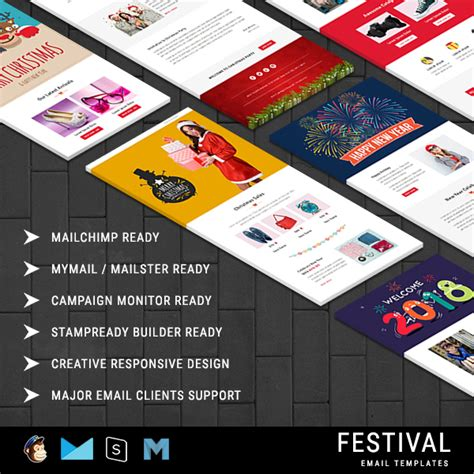 Festival Christmas Responsive Email Template 10 Notifications With Stready Builder Access Mailchimp New Year Template