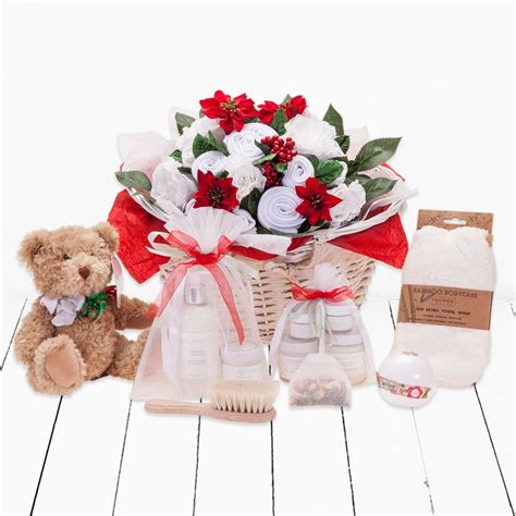 christmas luxury new baby gift basket neutral babyblooms