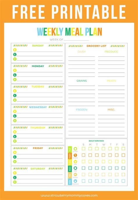 Meal Plan Spreadsheet by Free Printable Weekly Meal Planner Weekly Meal Plans