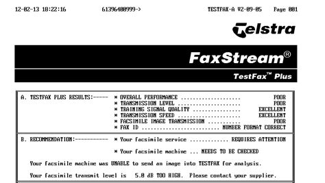 test fax telstra fax on line diagnostics folds test gough s