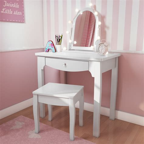Unfinished Wood Vanity Table White Solid Wood Vanity Dressing Table With Stool And