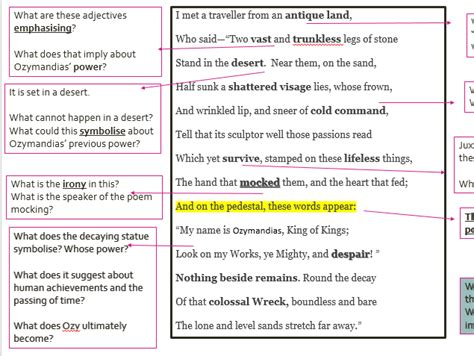 sle themes in literature theme for english b analysis line by line 100 ozymandias
