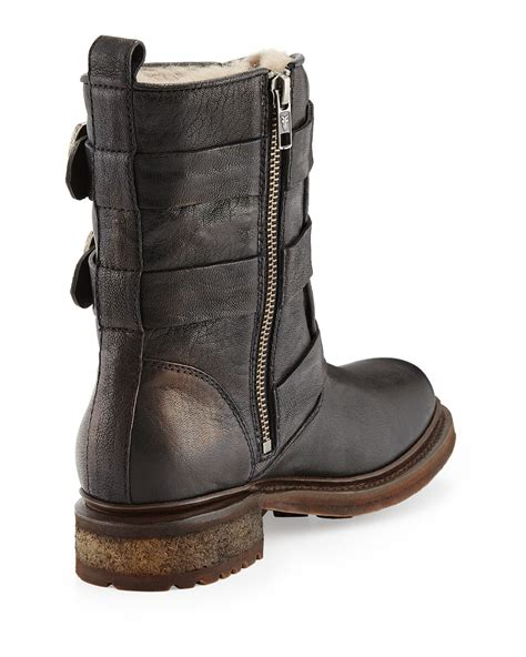 frye valerie shearling boots frye valerie shearling lined boot in black lyst