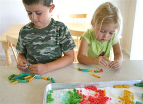 for children to make coloring pasta necklaces make and takes