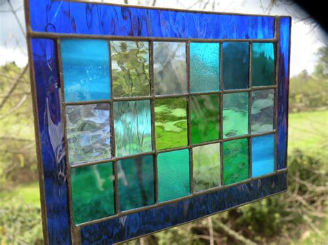 stained glass window panel blue green teal