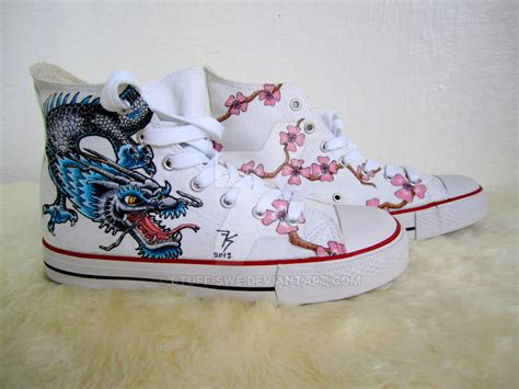 swe sneakers handpainted shoes koi and cherry flowers by