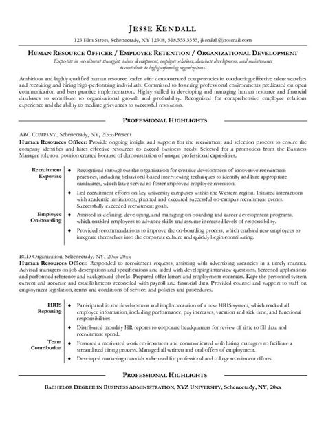 Resume Human Resources Officer Exle Human Resources Officer Resume Free Sle