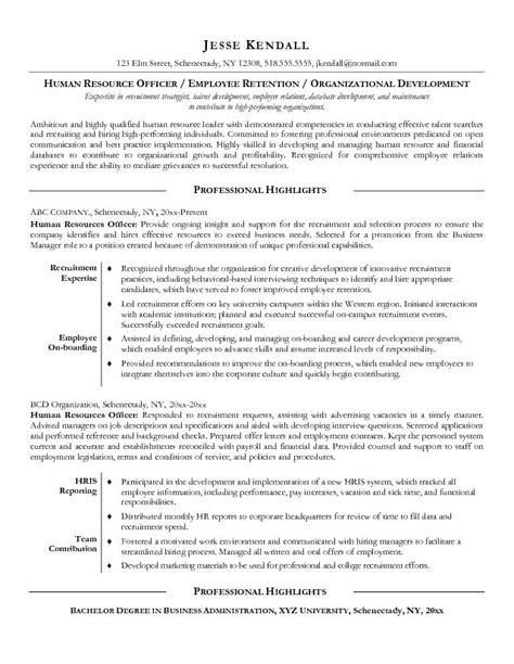 exle resume sle resume objectives hr