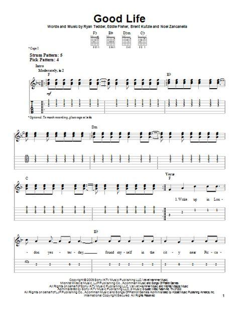 good sheets good life sheet music by onerepublic easy guitar tab 86386