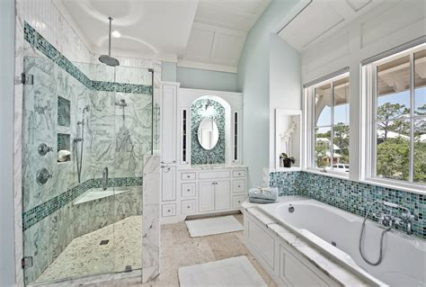 sea glass tiles bathroom contemporary with accent wall