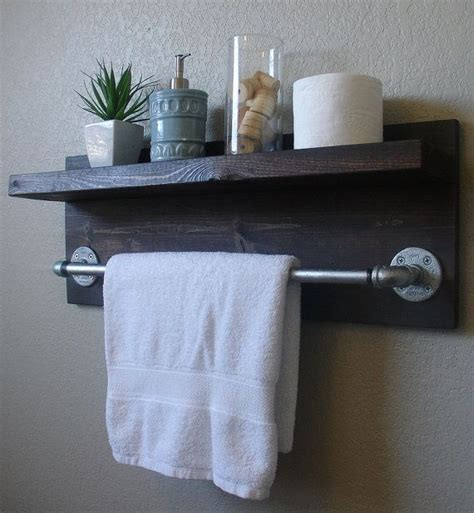 Bathroom Wall Shelves With Towel Bar Industrial Modern Rustic 2 Tier Floating Shelf Bathroom Shelf With 18 Quot Towel Bar