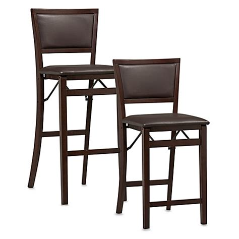 Folding Bar Stools Bed Bath Beyond Padded Folding Stool In Espresso Www Bedbathandbeyond