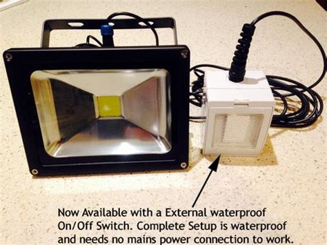 solar flood light with on off switch 20w led flood light with external on off switch uneek leds