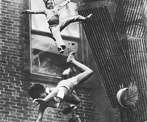 A mother and her daughter falling from a fire escape, 1975