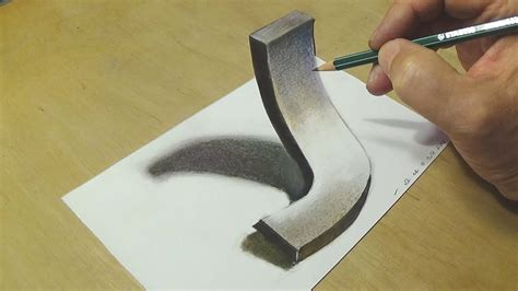 K Drawing 3d by Easy Drawing 3d Letter J Trick With Charcoal