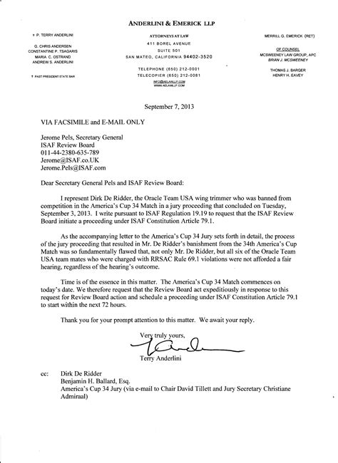 reinstatement letter dirk deridder seeks reinstatement in 34th america s cup