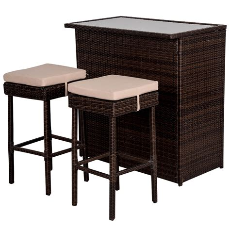 Wicker Bar Stool Set by Deluxe 3pc Rattan Wicker Bar Set With Cushions Bar And 2