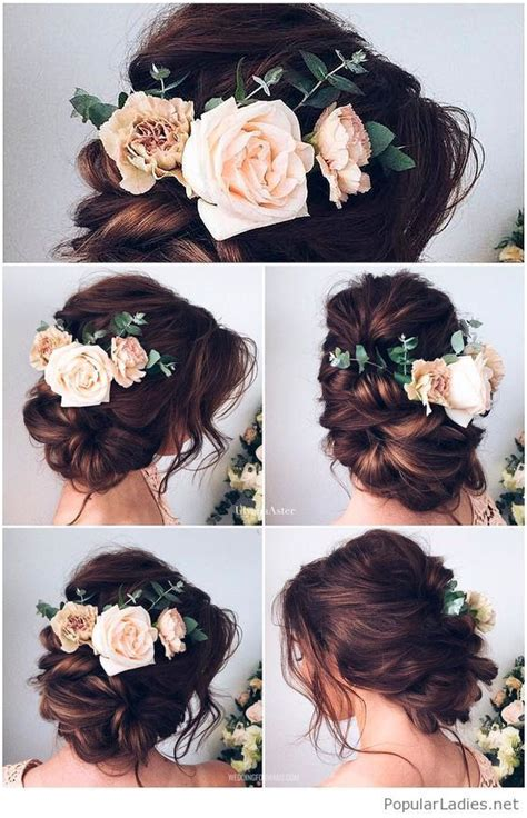 wedding updos with flowers in hair wedding hair with flowers jewels brown hair updo for